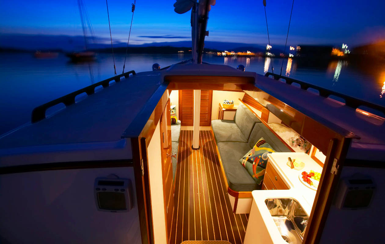 Sailboat bow view at sunset